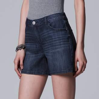 Vera Wang Women's Simply Vera Side Slit Jean Shorts