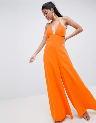 Asos DESIGN jumpsuit with cut out detail and super wide leg