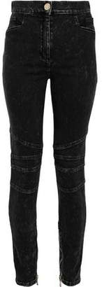 Balmain Moto-style Faded High-rise Skinny Jeans