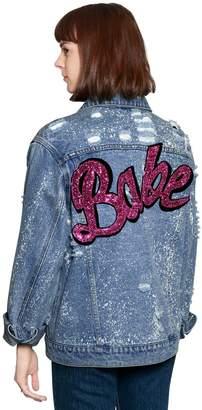 Cotton Denim Jacket W/ Glitter Patch