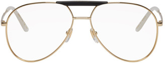 Gucci Gold and Black Cruise Pilot Glasses