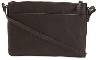 Sara Double Zipper Leather Crossbody
