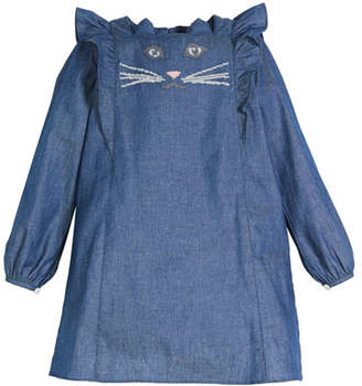 Charabia Denim Long-Sleeve Dress w/ Cat Face Embroidery, Size 2-8