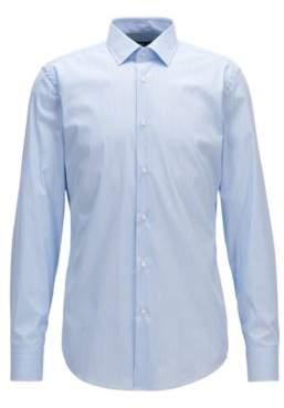 BOSS Hugo Pinstriped Cotton Dress Shirt, Slim Fit Jenno 17.5 Light Blue