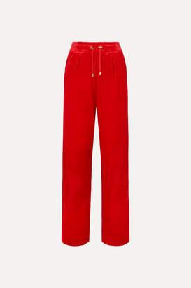 Balmain Velvet Track Pants - Red
