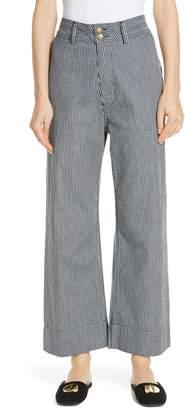 Apiece Apart Merida Stripe Denim Wide Leg Pants