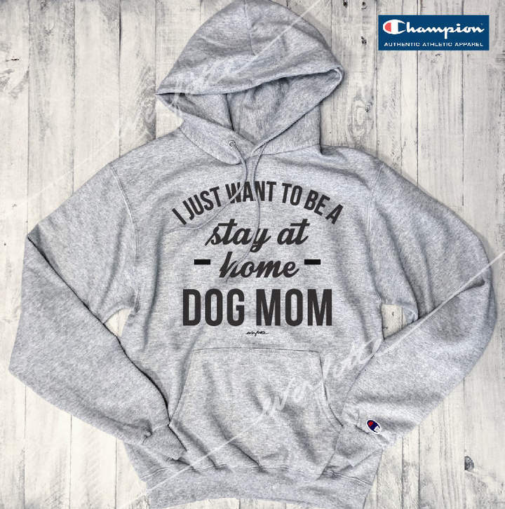 Etsy I Just Want To Be A Stay At Home Dog Mom... UNISEX Champion Sweatshirt Grey / Black Wide-Neck, Men's