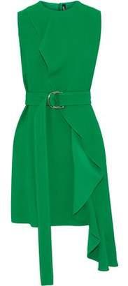 Calvin Klein Belted Ruffled Crepe Mini Dress
