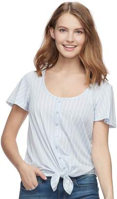 So Juniors' SO Print Knot-Front Tee