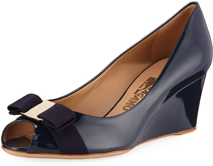 Salvatore Ferragamo Sissi Vara Mid-Wedge Pumps, Oxford Blue