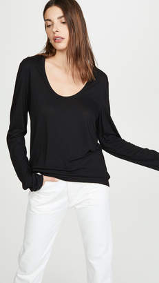 Alexander Wang Drapey Jersey Long Sleeve Tee with Darting Detail