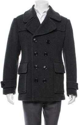 Burberry Nova Check-Lined Wool Peacoat