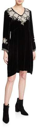 Johnny Was Plus Size Santal Effortless V-Neck Long-Sleeve Velvet Dress