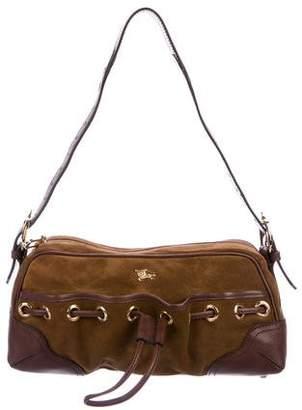 Burberry Leather-Trimmed Suede Shoulder Bag