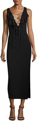 Nicole Miller Heavy Jersey Lace-Up Ruffle Midi Dress