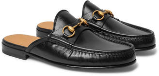 Gucci Open Roos Horsebit Leather Backless Loafers - Men - Black