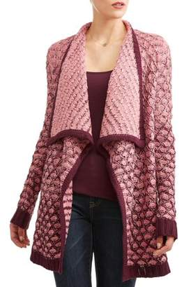 Time and Tru Women's Color Block Flyaway Cardigan