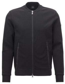 BOSS Hugo cotton bomber-style sweatshirt contrast front L Black