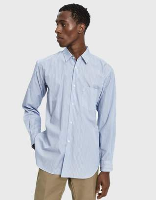 Comme des Garcons Forever Button Up Shirt in Multi Blue Stripe