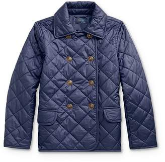 Ralph Lauren Girls' Quilted Double-Breasted Jacket - Big Kid
