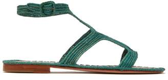 Carrie Forbes - Hind Raffia T Bar Sandals - Womens - Green