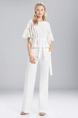 Josie Natori Cotton Shirting Ruffle Sleeve Top