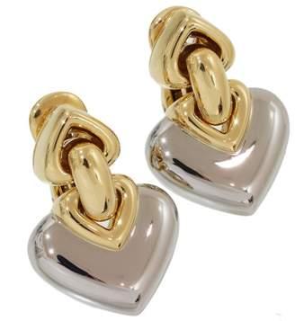 Bulgari 18K Yellow Gold & Stainless Steel Doppio Cuore Heart Clip Earrings