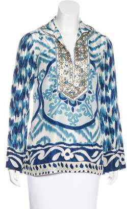 Tory Burch Embellished Ikat Print Top