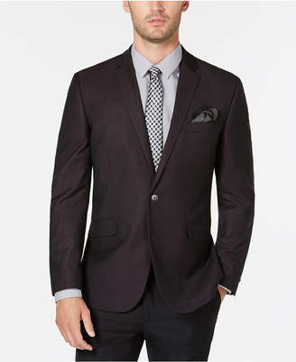 Kenneth Cole Reaction Men Slim-Fit Burgundy & Black Grid Dinner Jacket, Online Only