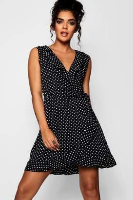 boohoo Ruffle Neckline Polka Dot Print Wrap Dress