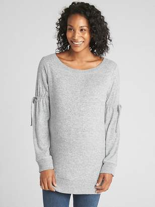 Gap Maternity Softspun Tie-Sleeve Pullover Tunic Sweater