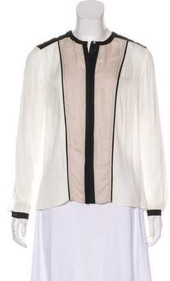 Helmut Lang Long Sleeve Semi-Sheer Blouse