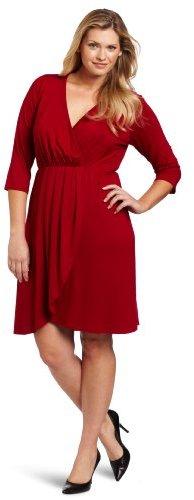 Karen Kane Women's Plus-Size Wrap Top Pleated Dress