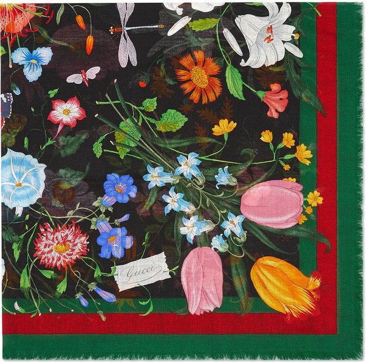 gucci schal mit flora web print damen. Black Bedroom Furniture Sets. Home Design Ideas