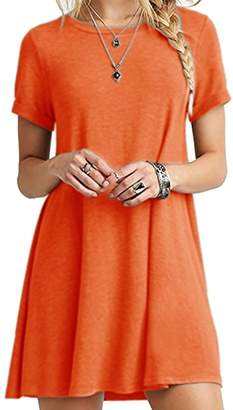 AGL Sexyshine Women's Long Sleeve Scoop Neck Casual Loose Swing Basic Tunic T-Shirt Dress(Re,XL)