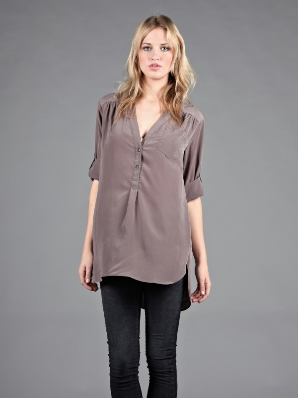 Zoa Rolled Up Sleeve Tunic Shirt