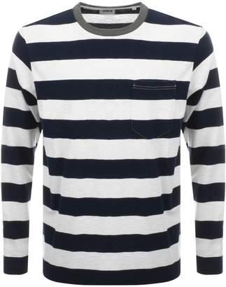Edwin Long Sleeve Ringer Bar Striped T Shirt Navy