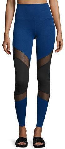 Beyond Yoga Deco Mirror Paneled High-Waist Long Leggings, Black/Cobalt