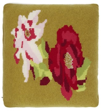 Allude Floral Intarsia Cashmere Cushion - Dark Yellow