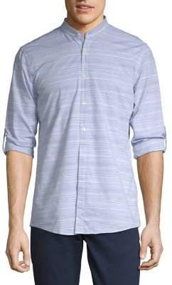 Strellson Mandarin-Collar Tabbed Stripe Shirt