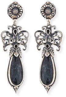 Konstantino Specular Hematite Doublet Teardrop Earrings