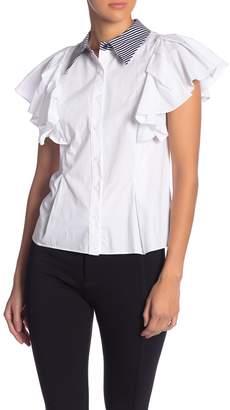 Grey Lab Contrast Collar Short Sleeve Button Down Shirt