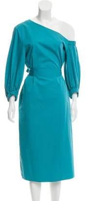 Tibi One-Shoulder Belted Dress