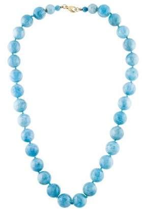 14K Aquamarine Bead Strand Necklace