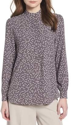 Anne Klein Dot Print Long Sleeve Blouse