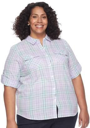 Croft & Barrow Plus Size Roll-Tab Woven Shirt