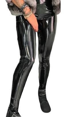 RG-CA Womens Sexy Faux Leather Leggings Wet Look Metallic Waist Leggings S