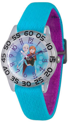 EWatchFactory Disney Frozen Elsa and Anna Girls' Clear Plastic Time Teacher Watch
