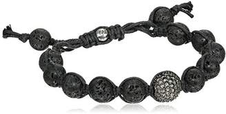 Tai Lava Beads with Pave Swarovski Clear Crystal Ball Bracelet