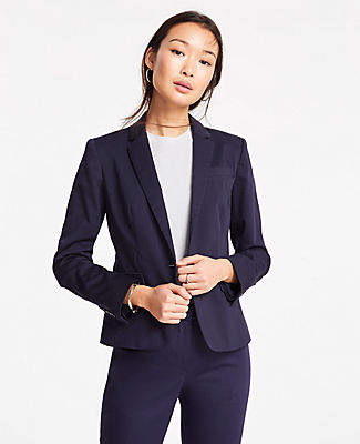 Ann Taylor The 1-Button Blazer in Cotton Sateen